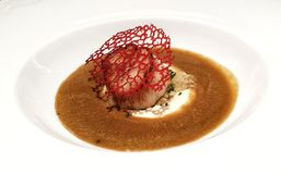 Scallop with cauliflower and seafood cacciucco Stock Image