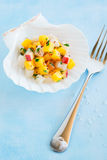 Scallop ceviche. With mango and nectarine on scallop shell half, selective focus stock photo