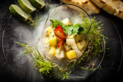 Free Scallop Ceviche Served In Black Bowl With Liquid Ice Smoke Stock Image - 165747671