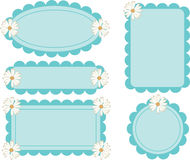 Scallop Edge Frames Daisy Flower. Cute scallop edge frame tags with daisy flower Royalty Free Stock Photography