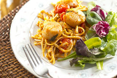 Scallop Linguine with Tomato Sauce Royalty Free Stock Image
