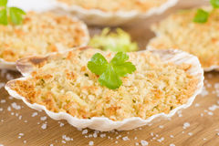 Scallop & Prawn Gratin Royalty Free Stock Photography