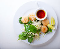 Scallop Salad on a stone plate Stock Photo