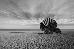 'Scallop' Sculpture by Maggie Hambling on Aldeburgh Beach, Suffo Royalty Free Stock Image