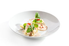 Scallop. Sea Scallop with Risotto and Sauce royalty free stock photography