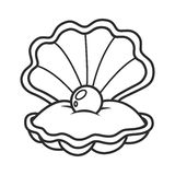 Scallop seashell with pearl Stock Images