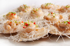 Scallop. In Shell garlic fans steamed royalty free stock photo