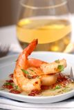 Scallop and shrimp sauteed in a bacon vinniagrette Royalty Free Stock Photos