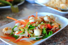 Scallop spicy salad Royalty Free Stock Photo
