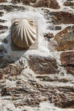 Scallop on stone wall. At Camino de Santiago Royalty Free Stock Photo