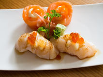 Scallop sushi and salmon roll Stock Image