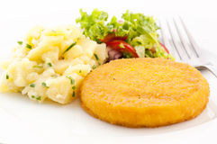 Scalloped Camembert. With mashed potato and salad Stock Image