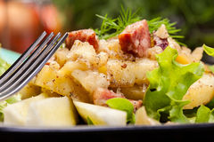 Scalloped potatoes with sausage and bacon Royalty Free Stock Photography