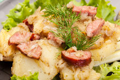 Scalloped potatoes with sausage and bacon Royalty Free Stock Images