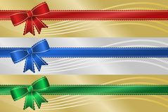 Scalloped Ribbon Banners. Three frilly Christmas holiday ribbon banners with metallic background and abstract wave Stock Images