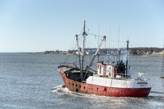 Scalloper Michigan partant de Fairhaven photo libre de droits