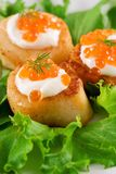 Scallops. Broiled scallops topped with salmon caviar royalty free stock images