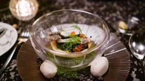 Fine dining. Seafood. Scallops, abalone and salmon roe. High class premium meal in top restaurant stock video
