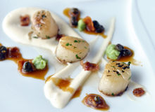 Scallops with bacon and sauce Stock Images