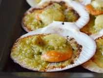 Scallops baked in butter Royalty Free Stock Photo