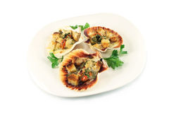 Scallops baked in the shells Stock Photography