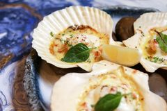 Scallops on blue plate with lemon. Close up Stock Photo