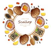 Scallops and caviar card Vector realistic seafood. Fresh shellfish. 3d detailed illustrations stock illustration