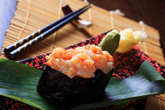 Scallops with Crab Sub sushi Royalty Free Stock Photography