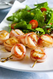 Scallops envolvidos bacon Fotografia de Stock Royalty Free