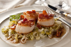 Scallops and leeks Stock Images