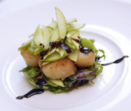 Scallops with lettuce Stock Photo