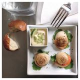 Scallops and lime mayo. Served for lunch royalty free stock photo