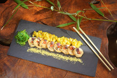 Scallops with mango and lemon grass Royalty Free Stock Image