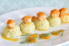 Scallops with Mash Potato Royalty Free Stock Photos