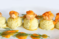 Scallops with Mash Potato Royalty Free Stock Photography