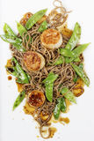 Scallops with Noodles and Vegetables Royalty Free Stock Photo