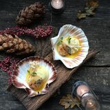 Scallops party food stock images