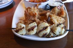 Scallops and Shrimp stock image
