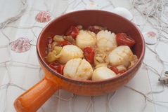 Scallops with tomatoes and fennel Stock Photo