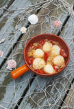 Scallops with tomatoes and fennel Stock Images