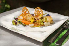 Scallops with vegetables Royalty Free Stock Images