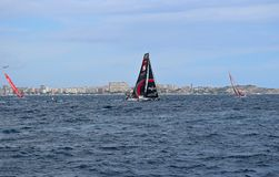 Scallywag And Other Race Yachts Close Racing In Volvo Ocean Race Alicante 2017. Yachts on different tacks In Alicante bay on the first leg of the round the World Stock Images