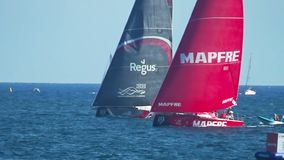 Scallywag Team and Mapfre Team fighting in VOR race 2017. stock footage
