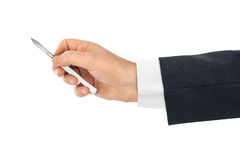 Scalpel in doctor hand Royalty Free Stock Photos