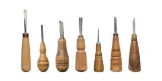Scalpelli isolati Un insieme degli scalpelli isolati su fondo bianco fotografie stock