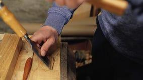 Scalpello nelle mani di un carpentiere professionista il carpentiere tratta gli strumenti di legno di carpenteria della plancia 4 archivi video