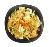 Scalpore delle tagliatelle del cellofan fritte con la verdura Immagini Stock Libere da Diritti