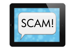 Scam Alert. S, Tablet with words Scam in Text Bubble isolated on a white background vector illustration