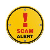 Scam alert circle sign stock images