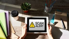 Free Scam Alert Detecting Warning. Notification On Device Screen. Stock Photo - 150083720
